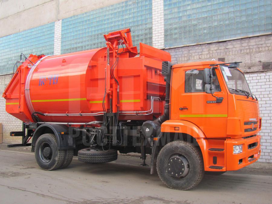 Купить Мусоровоз КамАЗ с боковой загрузкой КО-449-05 и другие модели на шасси КамАЗ, ГАЗ, ГАЗ - NEXT, МАЗ, УРАЛ, HYUNDAI, MAN, Dongfeng, низкие цены и выгодные условия от компании РостТехМаш!